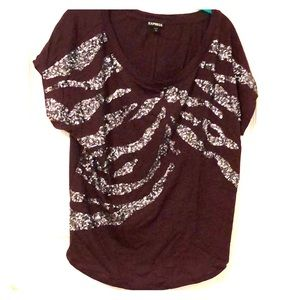 Express Sparkly Maroon and Silver Tee